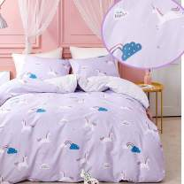 CLOTHKNOW Purple Unicorn Bedding Sets Queen Cotton Girls Duvet Cover Sets for Teens Women Pony Striped Pattern 3Pcs Comforter Cover Sets with Zipper Closure