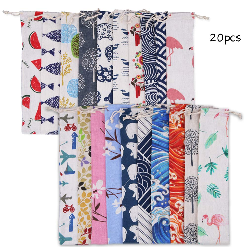 Set of 20 Reusable Cutlery Bag Straw Carrying Case 10x2.4 Inch Travel Pouch with Drawstring Linen Straws Knife Fork Spoon Chopsticks Pen Carrying Case Bag