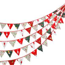 Christmas Decorations Kit–Fabric Bunting Banner/Xmas Pennant Flag/Traingle Hanging Garland Banner Decor for Fireplace,Wonderland Winter,New Year,Holiday Party,Indoor Decoration (2 Set)