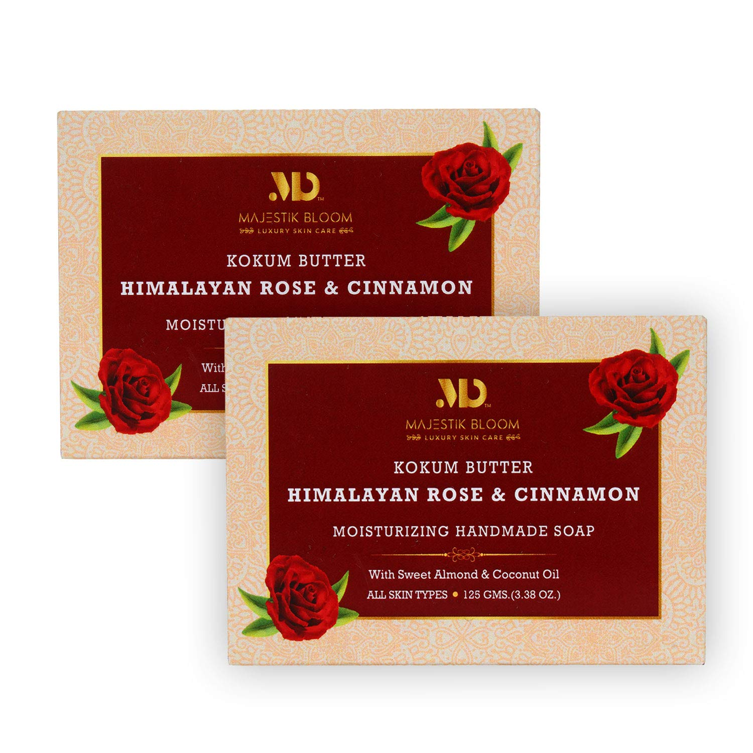 Majestik Bloom Himalayan Rose Natural Bar Soap, with Organic Sweet Almond & Coconut Oil, Nourishes Dry Skin & Sensitive Skin, Face & Body Soap, Vegan & Fragrance Free, 125 g (Pack of 2)