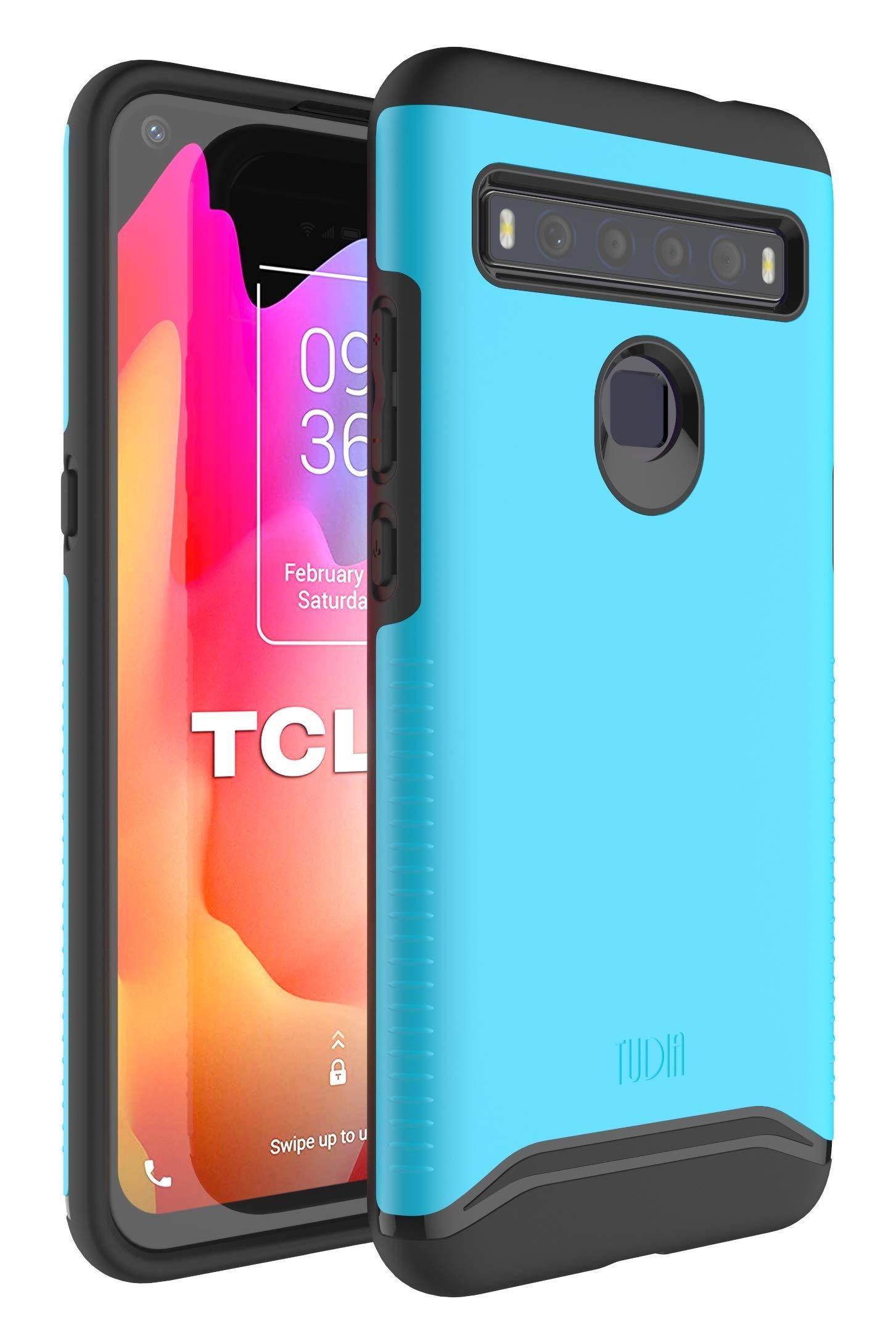 TUDIA DualShield Designed for TCL 10L Case/TCL 10 Lite Case, [Merge] Dual Layer Hard Matte Back Heavy Duty Slim Case for TCL 10L/TCL 10 Lite (Blue)