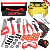 LOYO Kids Tool Set - 32PCS Pretend Play Construction Toy with Tool Box Kids Toolbelt Electronic Toy Drill Construction Accessories Gift for Toddlers Boys Ages 2, 3 , 4, 5, 6, 7 Years Old
