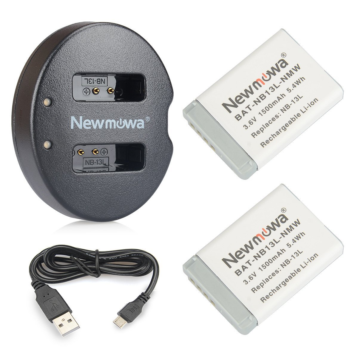 NB-13L Newmowa Replacement Battery (2 Pack) and Dual USB Charger for Canon NB-13L and PowerShot G5X, G7X, G7 X Mark II, G9X, G9 X Mark II, G1 X Mark III, SX620 HS, SX720 HS, SX730 HS