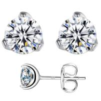 Swarovski Zirconia Stud Earrings For Women with Sterling Silver Solitaire Round Cut Pure Brilliance Simulated Diamond Earrings