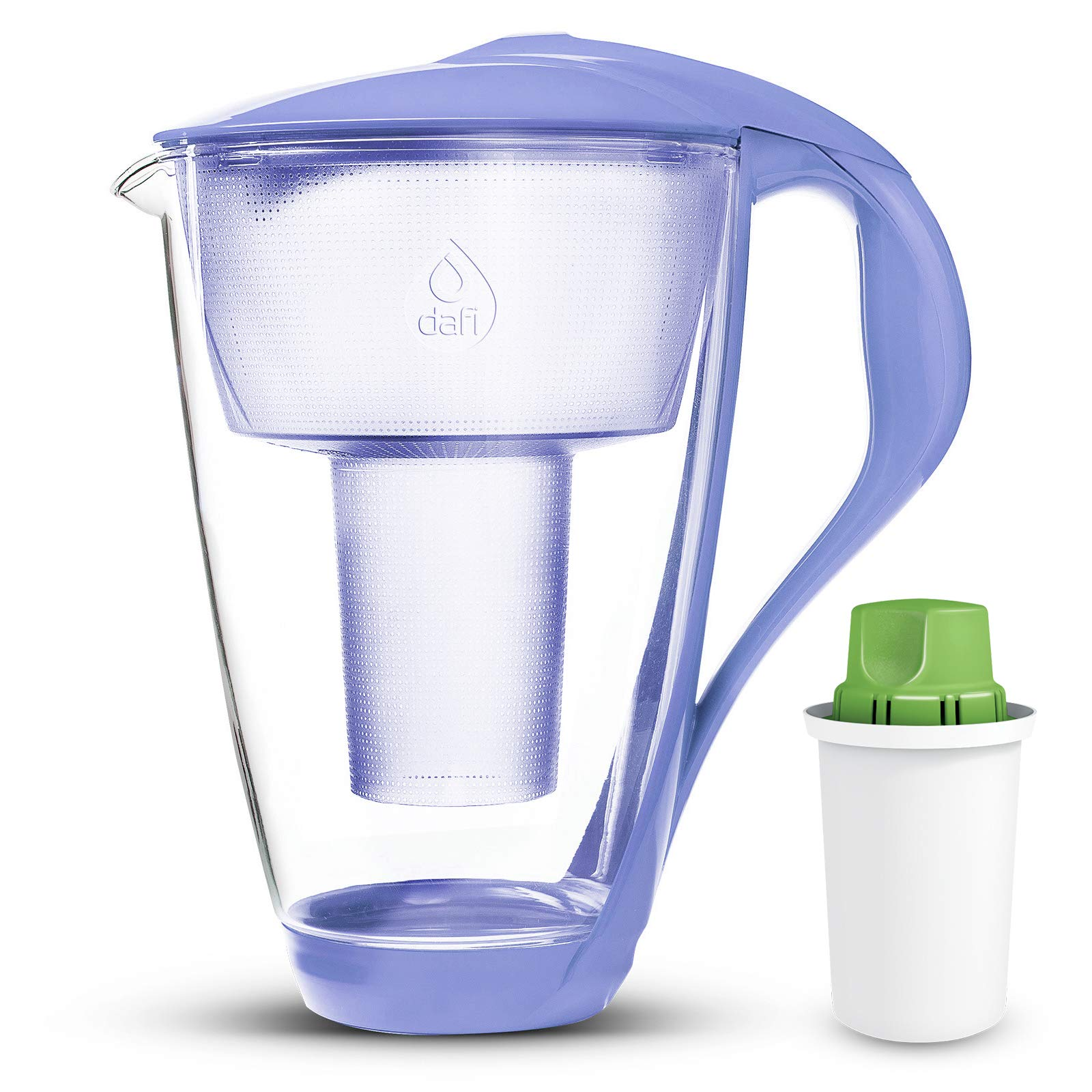 Dafi Alkaline UP Crystal Glass Water Pitcher 8 cups (Violet - Crystal Alkaline Water Pitcher with 1 Alkaline UP pH Water Filter)