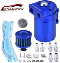 SPEEDWOW Oil Catch Can Air Breather Tank Filter Baffled Universal Blue