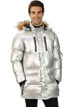 WULFUL Men's Winter Down Jacket Lightweight Puffer Coat Padded with Detachable Fur Hood