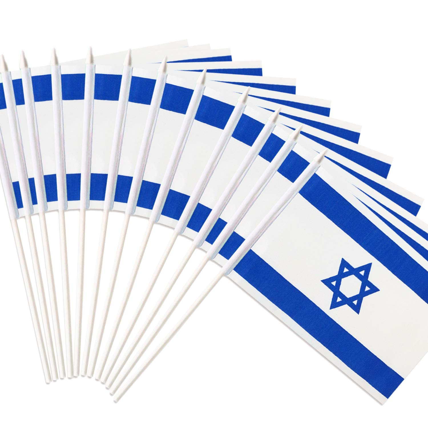 """Anley Israel Stick Flag, Israeli 5x8 inch Handheld Mini Flag with 12"""" White Solid Pole - Vivid Color and Fade Resistant - 5 x 8 inch Hand Held Stick Flags with Spear Top (1 Dozen)"""