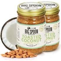 Big Spoon Roasters Toasted Coconut Almond Butter w/ Sea Salt - Keto Friendly Almond Coconut Butter - Crunchy Almond Butter w/ Bee-Friendly Almonds - Gourmet, Pure, Vegan Almond Nut Butter - 26 Ounces