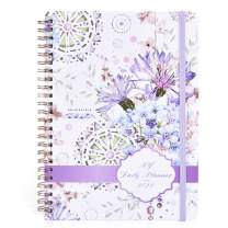 """2021 Planner - Weekly and Monthly Planner with Tabs, Flexible Hardcover Daily Planner, Strong Twin - Wire Binding Floral Planners with Inner Pocket, Elastic Closure, 6.3"""" x 8.4"""" (Floral Pattern A)"""