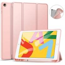 Ztotop Case for iPad 7th Generation 10.2 Inch 2019, Full Body Protective Rugged Shockproof Case with Pencil Holder, Trifold Stand with Auto Sleep/Wake Smart Case Cover for iPad 10.2 2019 - Rosegold