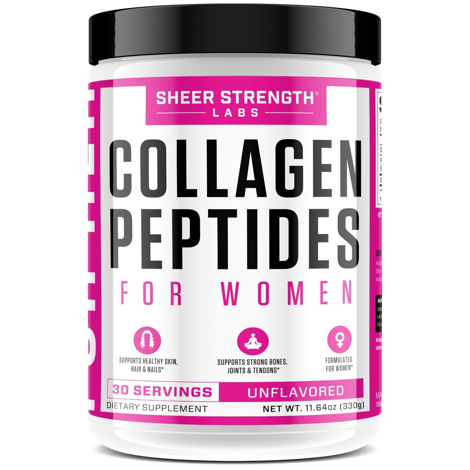 Collagen Peptides Powder - Hydrolyzed Collagen Powder Grass Fed for Healthy Hair Skin Nails and Joints   Paleo Friendly Keto Protein Powder Non-GMO and Gluten Free   Sheer Strength 330g Unflavored