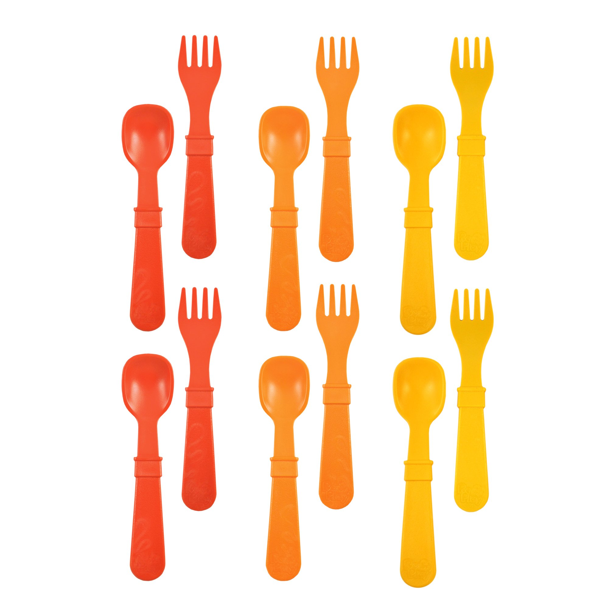 RE-PLAY Made in The USA 12pk Fork and Spoon Utensil Set for Easy Baby, Toddler, and Child Feeding in Red, Orange and Sunny Yellow   Made from Eco Friendly Heavyweight Recycled Milk Jugs   (Fall)