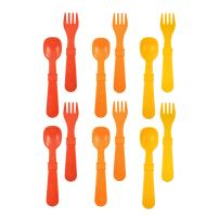 RE-PLAY Made in The USA 12pk Fork and Spoon Utensil Set for Easy Baby, Toddler, and Child Feeding in Red, Orange and Sunny Yellow | Made from Eco Friendly Heavyweight Recycled Milk Jugs | (Fall)