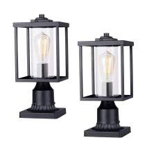 """JAZAVA Outdoor Post Light Fixtures, Opening Design Exterior Post Lantern with Transparent Clear Glass, Pillar Lantern Pole Lamp with 3"""" inch Pier Mount Street Lighting for House Patio, 2 Pack"""