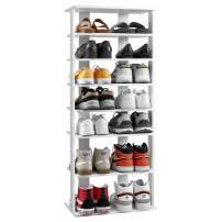 kealive Wooden Shoe Rack Freestanding 7 Tiers Entryway Shoe Tower Organizer Vertical Shoe Storage Stand Space Saving Shoe Rack Modern Simple Sturdy Storage Shelf White Double Size