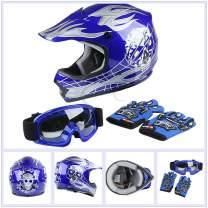 TCT-MT DOT Helmet w/Goggles Gloves Youth Kids Blue Skull Motocross ATV Dirt Bike Helmet Gloves Goggles S~XL (X-Large)