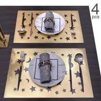 Candumy Hollow Faux Leather Placemats for Dining Table,Star and Moon PU Leather Tablemats for Holidays Parties Decor, Easy to Clean Non-Slip Place Mats Set of 4 (Gold, 18x12 inches)