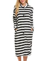 Ekouaer Robes Women's Button Front Sleepwear Long Bathrobe Ultra-Soft Fleece Loungewear S-XXL