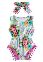 Vogseek Baby Girls Romper Graphic Printed Sleeveless Jumpsuit with Headband for 0-24M