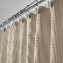 "mDesign Long, Polyester/Cotton Blend Machine Washable Fabric Shower Curtain with Waffle Weave and Rust-Resistant Metal Grommets for Bathroom Showers and Bathtubs, 72"" x 84"" - Dark Khaki/Linen"