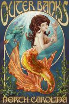 Outer Banks, North Carolina - Mermaid 43154 (16x24 SIGNED Print Master Art Print - Wall Decor Poster)