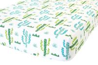 ADDISON BELLE 100% Organic Cotton Fitted Crib Sheet Premium Baby Bedding - Soft, Breathable & Durable (Cactus)