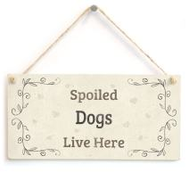 "Meijiafei Spoiled Dogs Live Here - Lovely Home Accessory Gift Sign for Dog Owners 10"" x 5"""