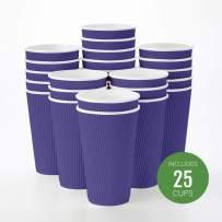 Insulated Paper Coffee Cups - Ripple Wall - Royal Purple - 16 oz - 25ct Box - MATCHING LIDS SOLD SEPARATELY: RWA0360B, RWA0360W, RWA0328LG, RWA0328GR, RWA0328HP, RWA0283W, RWA0283B