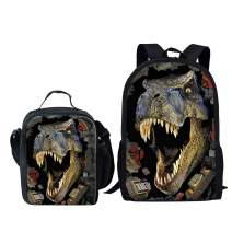 Dellukee School Backpack And Lunch Bag Set Cute Durable Daypack Dinosaur Print