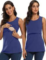 GLAMIX Women's Nursing Shirt Sleeveless Lift Up Breastfeeding Tank Top Casual Clothes