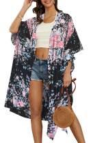 Womens Floral Cardigan Short Sleeve Kimono Chiffon Long Lightweight Beach Coverups