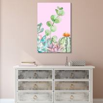 "wall26 Canvas Wall Art Succulent Plants Series - Watercolor Style Plants on Pink Background - Giclee Print Gallery Wrap Modern Home Decor Ready to Hang - 16"" x 24"""