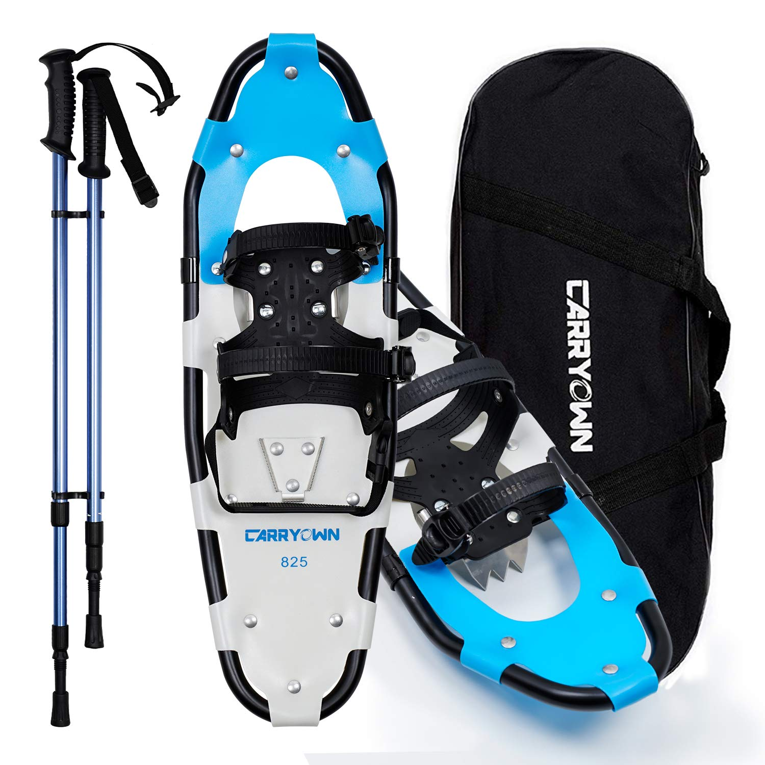 """Carryown Xtreme Light Weight Snowshoes Set for Adults Men Women Youth Kids, Aluminum Alloy Terrain Snow Shoes with Trekking Poles and Carrying Tote Bag, 14"""" /21""""/ 25""""/ 30"""""""