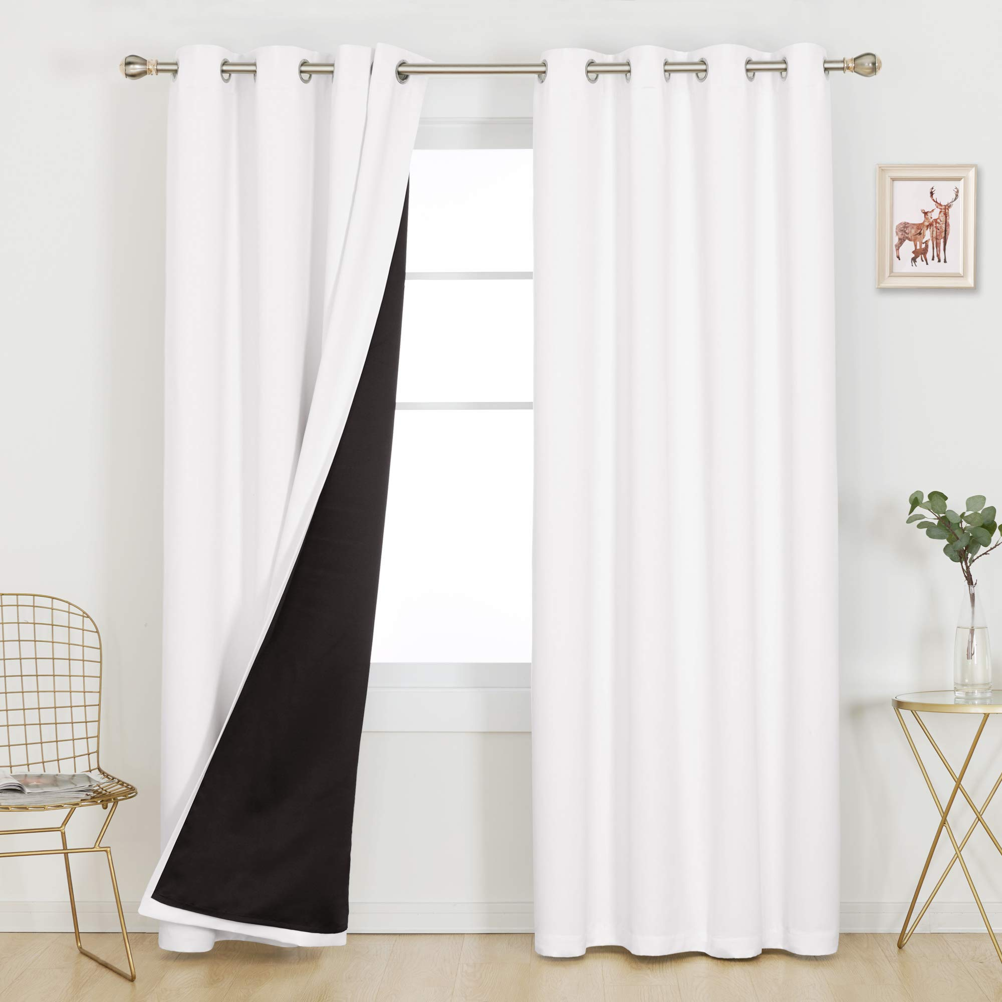 Deconovo Grommets 100% Blackout Curtains 95 Inches Long Length Thermal Insulated Window Drapes for Bedroom Kids Room Baby Boy Girl Nursery Long Windows, Set of 2, Each Panel 52x95 in, Pure White