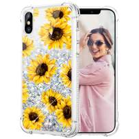 Caka Glitter Case for iPhone X XS Case Flower Bling Girls Girly Women Luxury Fashion Flowing Liquid Floating Sparkle Glitter Case for iPhone X XS (5.8 inch) (Sunflower)