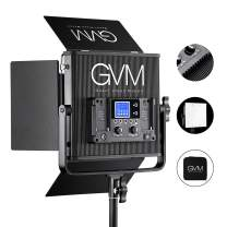 GVM Led Bi-Color Video Lights with Joint Control Function, Variable CCT 2300K-6800K and 10%-100% Brightness with Digital Display for Video Studio Shooting, Led Panel Light + Barn door