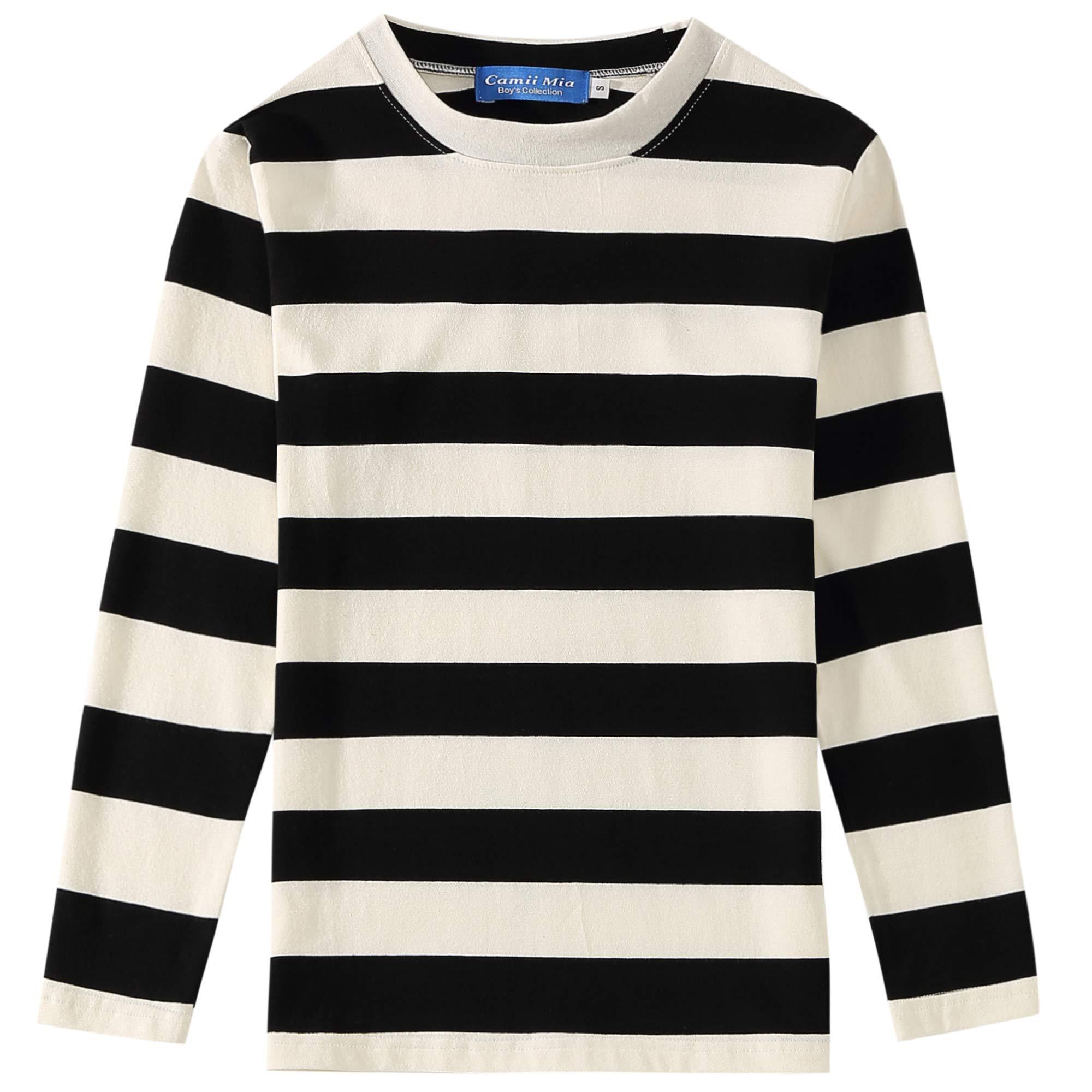 SSLR Big Boys' Cotton Crew Neck Casual Long Sleeves Stripe T-Shirt