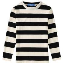 Camii Mia Big Boys' Crewneck Long Sleeve Cotton Stripe Tee Shirts