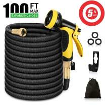 Garden Hose 100 ft, Expandable Water Hoses, Durable 3750D Fabric Stronger 9-Layers Latex Core Solid Brass Fittings 10 Functions Spray Nozzle Lightweight Flexible Hose for Watering Lawn Yard Pets Car