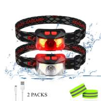 LED Headlamp Flashlight, USB Rechargeable Headlamp,8 Modes, 1100 Lumens Ultra-Light Bright Motion Sensor Waterproof Outdoor Head Light with White Red Light Used for Camping Cycling Running 2 Packs