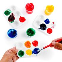"White Plastic Artist Paint Palettes Color Rectangular Cavity Non-Stick Trays 6 Slot for Watercolor, Acrylic, Oil Paints (12 Pack, 5"" x 3.5"") by Super Z Outlet"