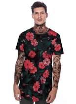 MIZOK Mens Hipster Hip Hop Pattern Print T-Shirt Round Hemline Longline Short Sleeve Top
