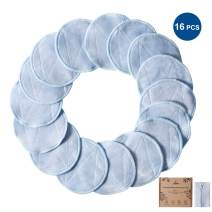 Nipoo 16 Pack Reusable Makeup Remover Pads - Ultra Soft&Skin-friendly - 2 Layers Natural Bamboo Reusable Cotton Pads Rounds for Face With Laundry Bag - Wipe Face Eye Makeup and Apply Cleansing Toner