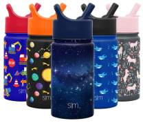 Simple Modern Kids Insulated Water Bottle Cup with Straw Stainless Steel Flask Metal Thermos for Toddlers Boys and Girls, 14oz, Milky Way