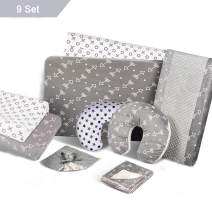 BORITAR 9 Piece Crib Bedding Set for Newborn and Toddler with Originals Arrow Safari Design, Super Soft Fabric with Minky and Stretchy Jersey Knit, Grey and White
