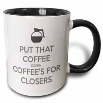 3dRose Put Coffee's for Closers Mug, 11 oz, Black