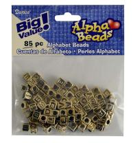 Darice 85-Piece Big Value Alpha Beads, 6mm, Gold with Black letters (1930-25)