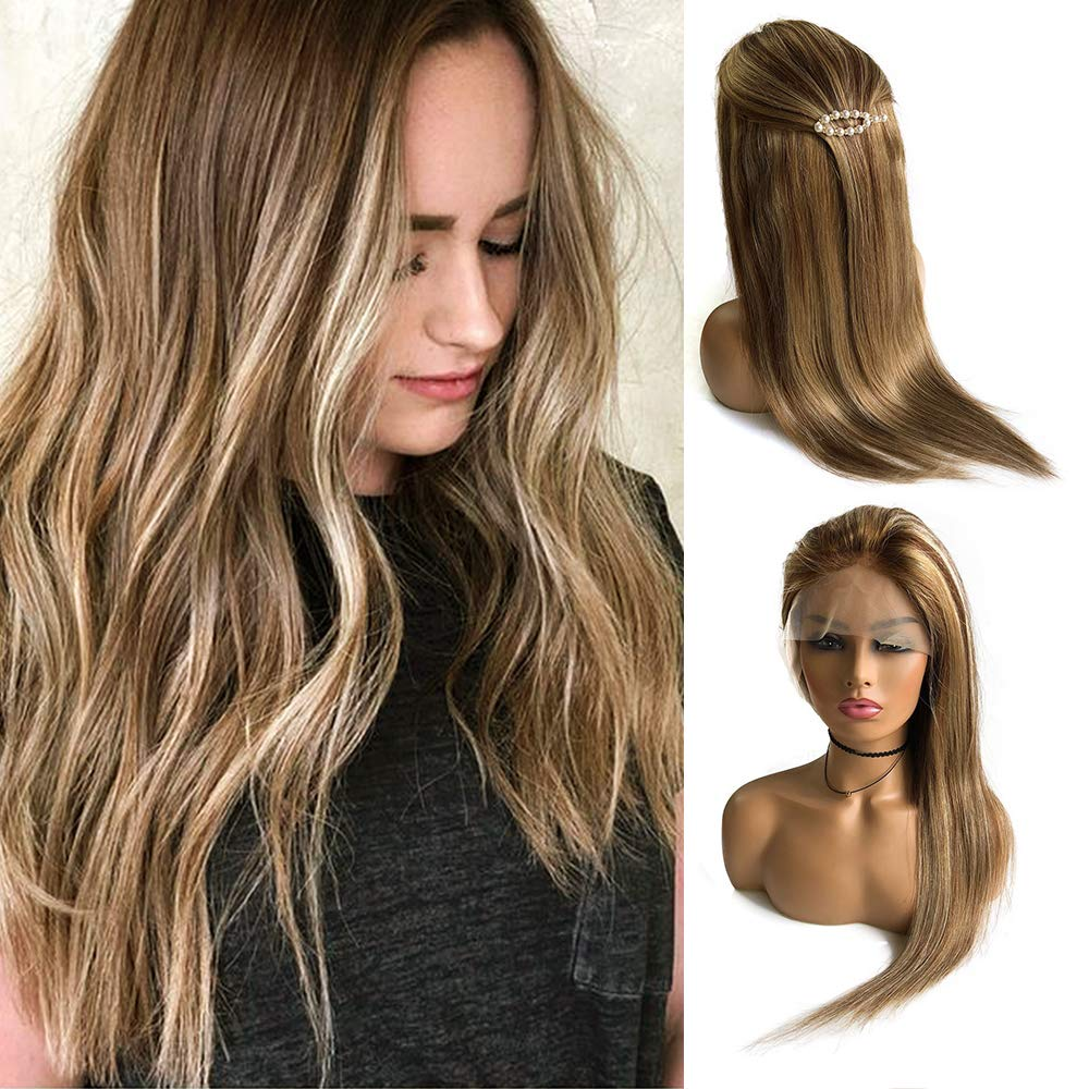 """Balayage Lace Front Human Hair Wig Ombre Color Chestnut Brown to Beige Blonde Highlights Straight Remy Hair Glueless Lace Frontal Blonde Wig Pre Plucked Natural Hairline for White Women 16"""""""