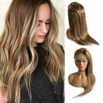 Balayage Lace Front Human Hair Wig Ombre Color Chestnut Brown to Beige Blonde Highlights Straight Remy Hair Glueless Lace Frontal Blonde Wig Pre Plucked Natural Hairline for White Women 16""